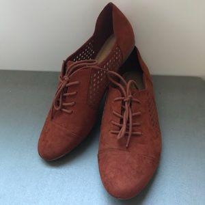 Shoes - Cognac Faux Suede Flats W/ Gold Toe Embellishment
